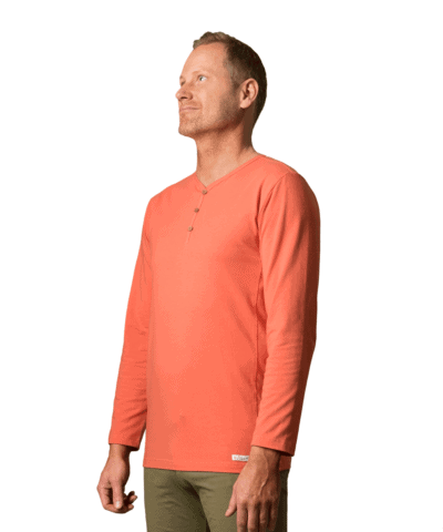 Organic-cotton-high-neck-sweater-garadan-coral-red