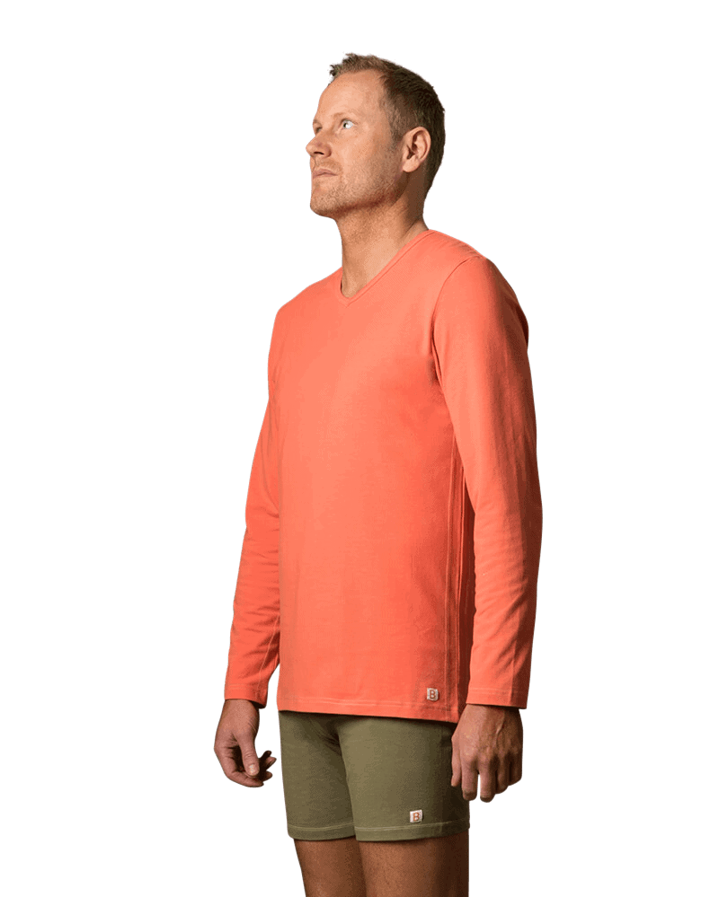 Organic cotton long sleeve t shirt dhiti ii coral red for Coral shirts for guys