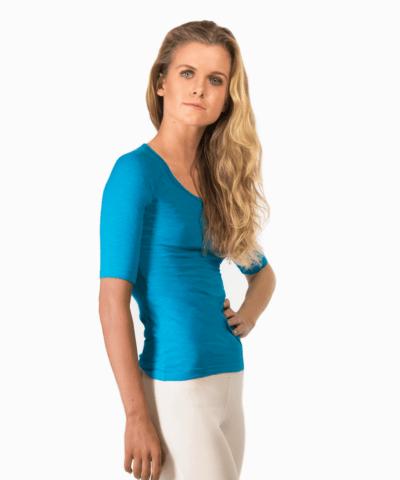 Ekologisk -t-shirt med -halvlånga ärmar- Madhy – Turkos-1-1-1-2